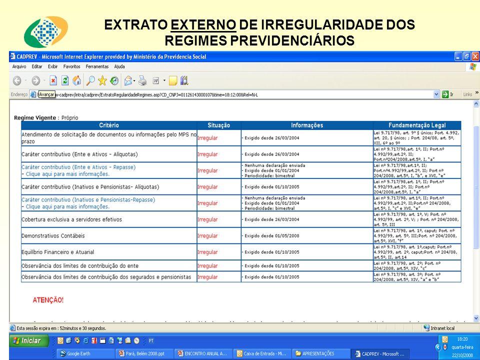 EXTRATO EXTERNO DE IRREGULARIDADE DOS REGIMES PREVIDENCIÁRIOS