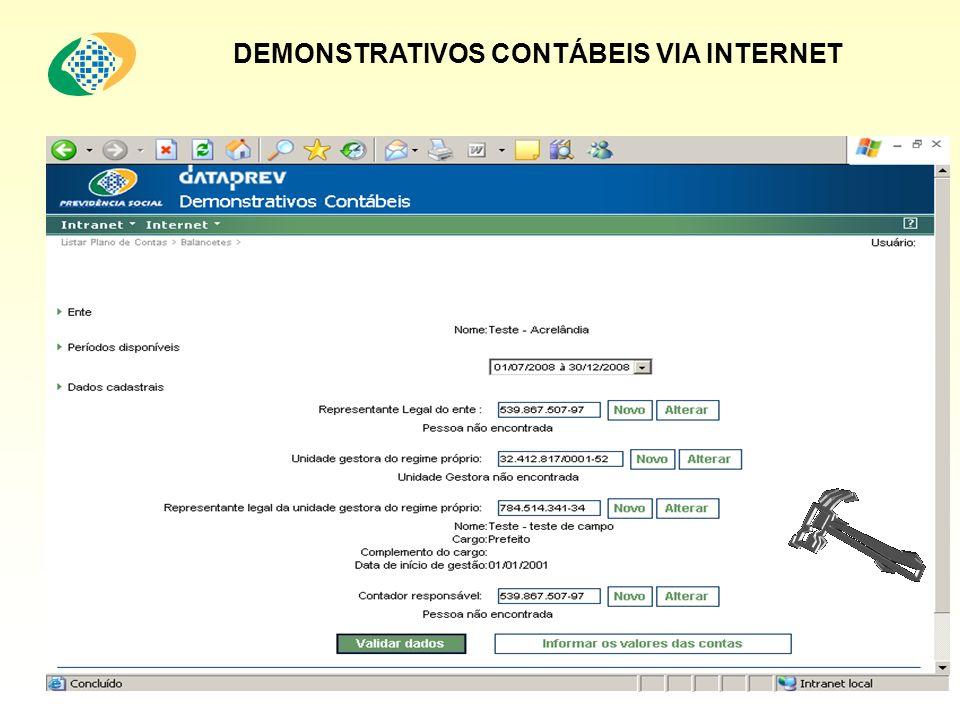 DEMONSTRATIVOS CONTÁBEIS VIA INTERNET