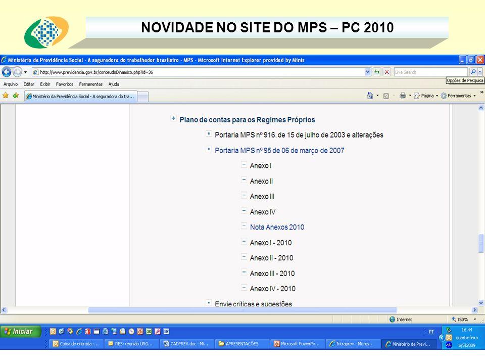 NOVIDADE NO SITE DO MPS – PC 2010