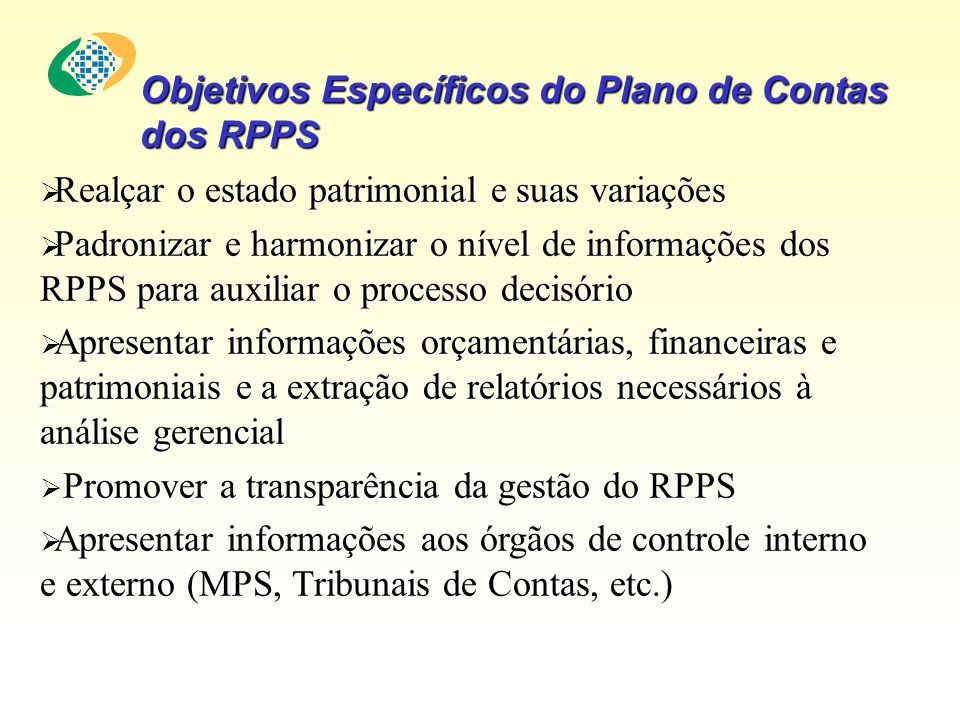 Objetivos Específicos do Plano de Contas dos RPPS