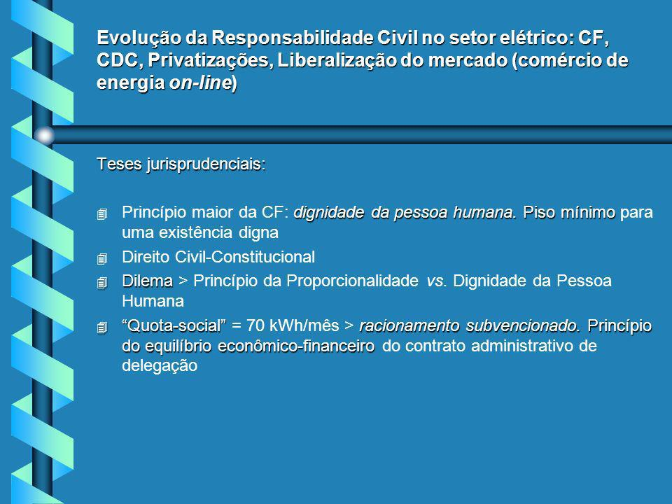 Evolução da Responsabilidade Civil no setor elétrico: CF, CDC, Privatizações, Liberalização do mercado (comércio de energia on-line)