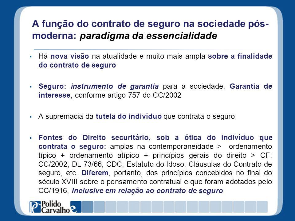 A função do contrato de seguro na sociedade pós-moderna: paradigma da essencialidade