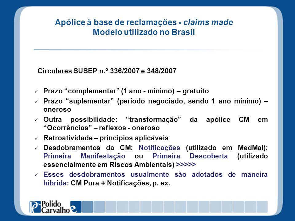 Apólice à base de reclamações - claims made Modelo utilizado no Brasil