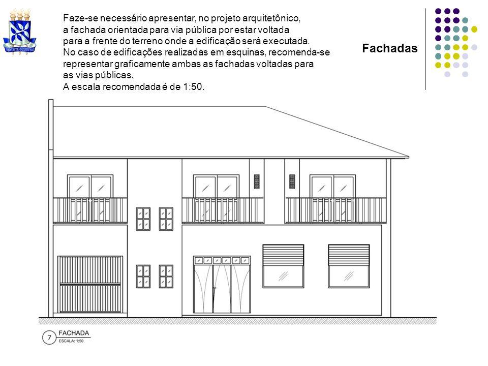 Fachadas Faze-se necessário apresentar, no projeto arquitetônico,