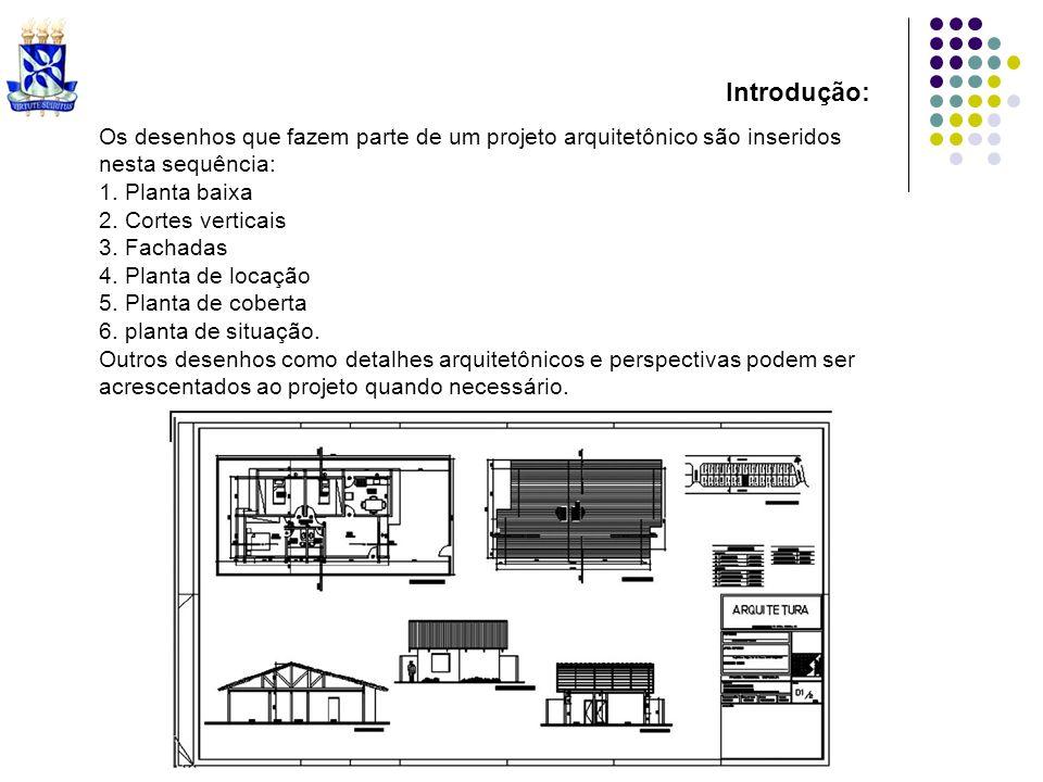 Introdução: Os desenhos que fazem parte de um projeto arquitetônico são inseridos. nesta sequência: