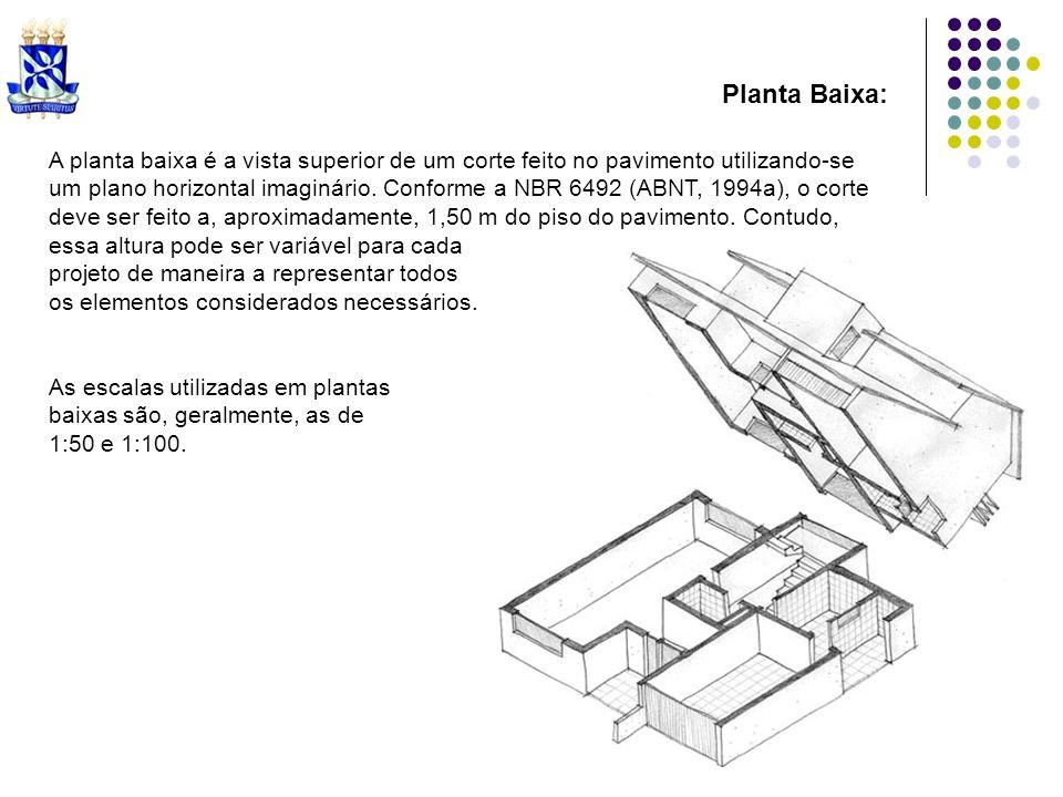 Planta Baixa:A planta baixa é a vista superior de um corte feito no pavimento utilizando-se.