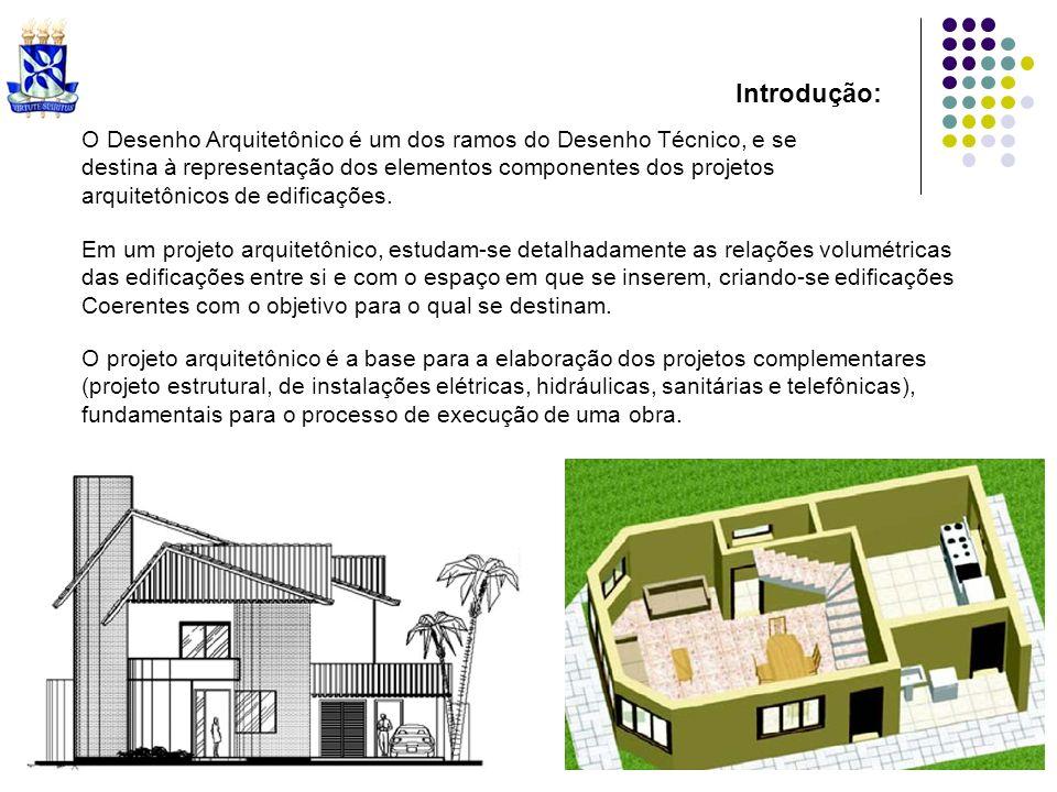 Introdução: O Desenho Arquitetônico é um dos ramos do Desenho Técnico, e se. destina à representação dos elementos componentes dos projetos.