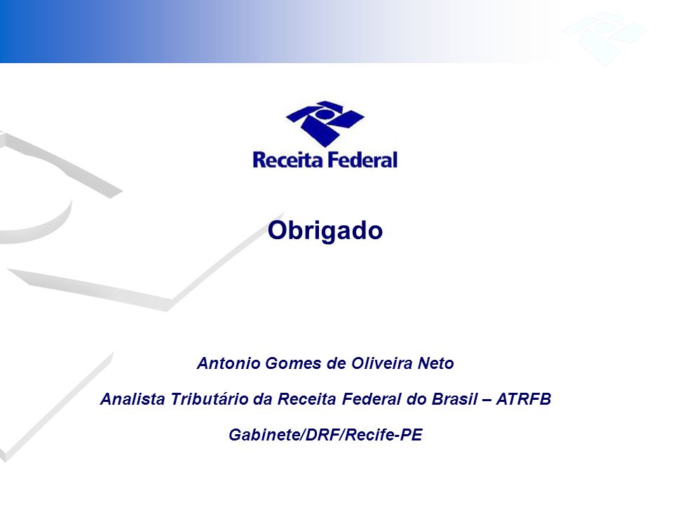 Obrigado Antonio Gomes de Oliveira Neto