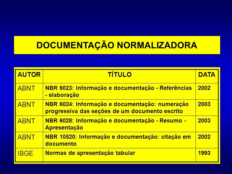 DOCUMENTAÇÃO NORMALIZADORA
