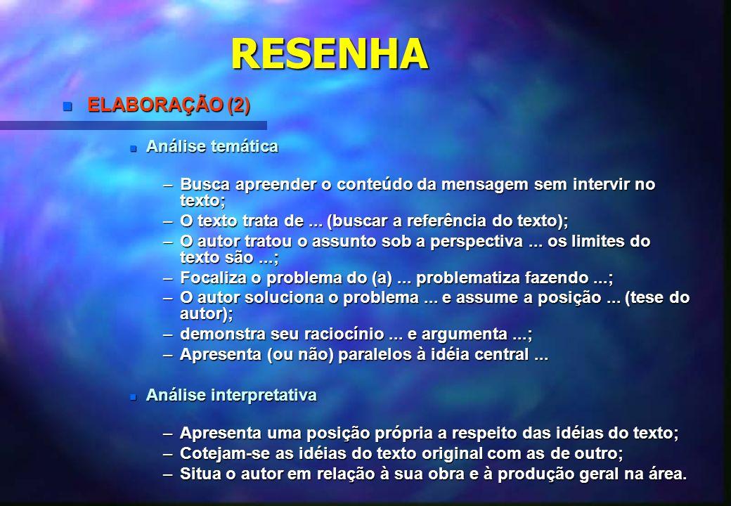 RESENHA ELABORAÇÃO (2) Análise temática