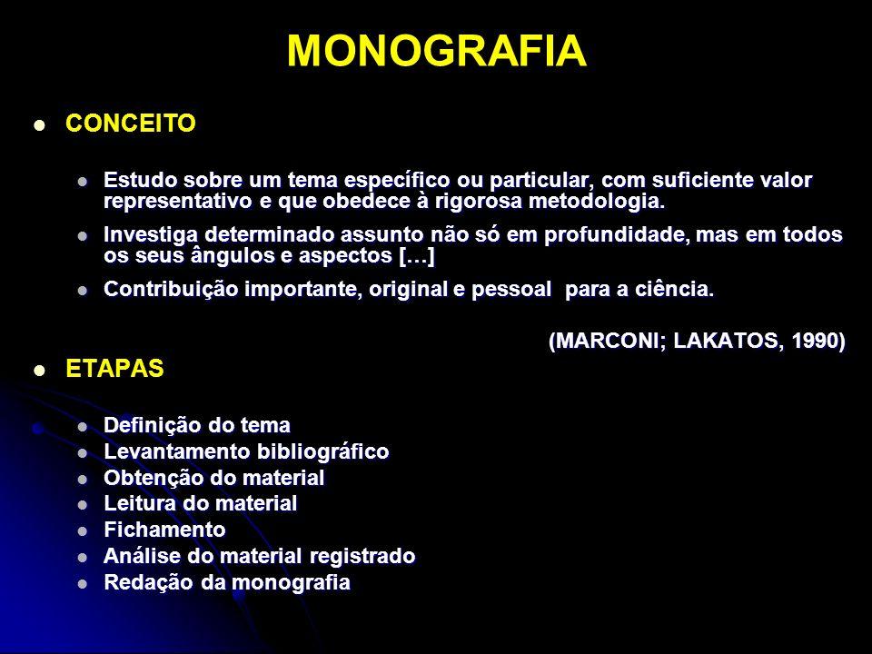 MONOGRAFIA CONCEITO ETAPAS
