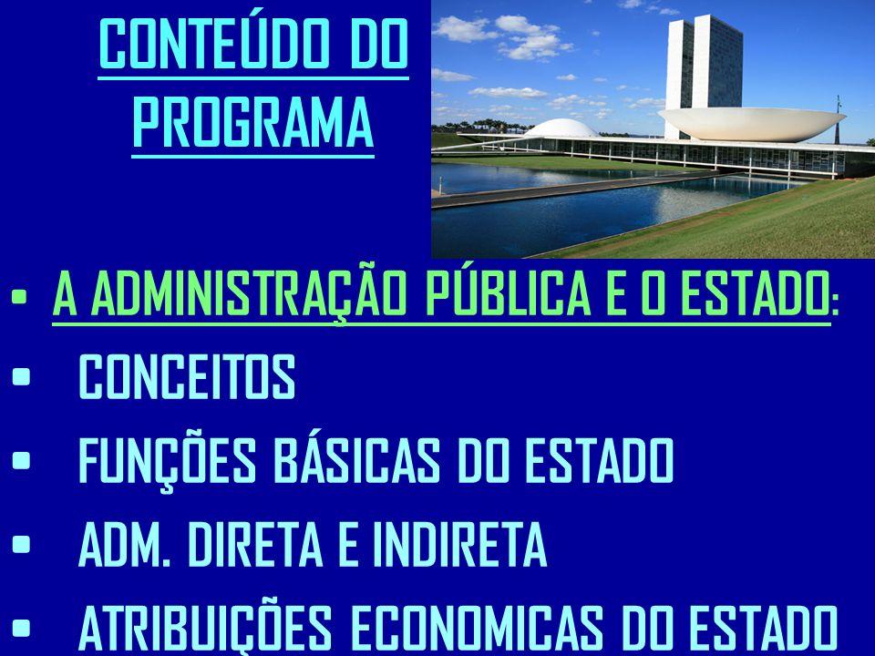 CONTEÚDO DO PROGRAMA CONCEITOS FUNÇÕES BÁSICAS DO ESTADO