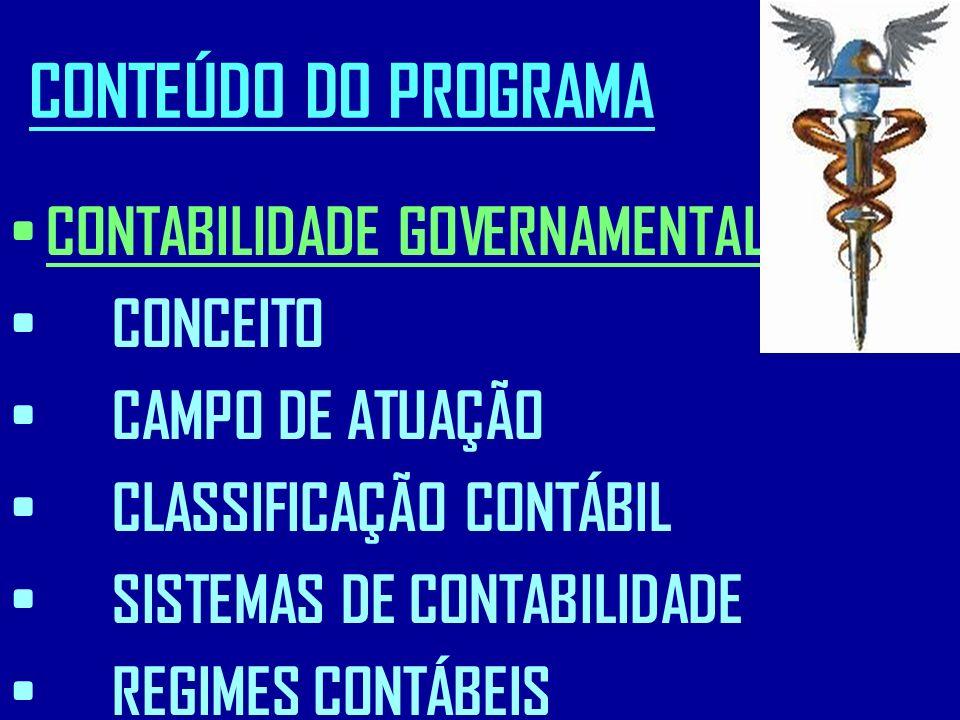 CONTEÚDO DO PROGRAMA CONTABILIDADE GOVERNAMENTAL: CONCEITO