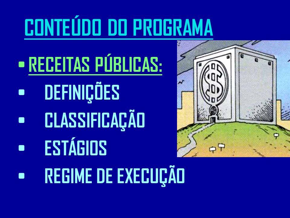 CONTEÚDO DO PROGRAMA RECEITAS PÚBLICAS: DEFINIÇÕES CLASSIFICAÇÃO