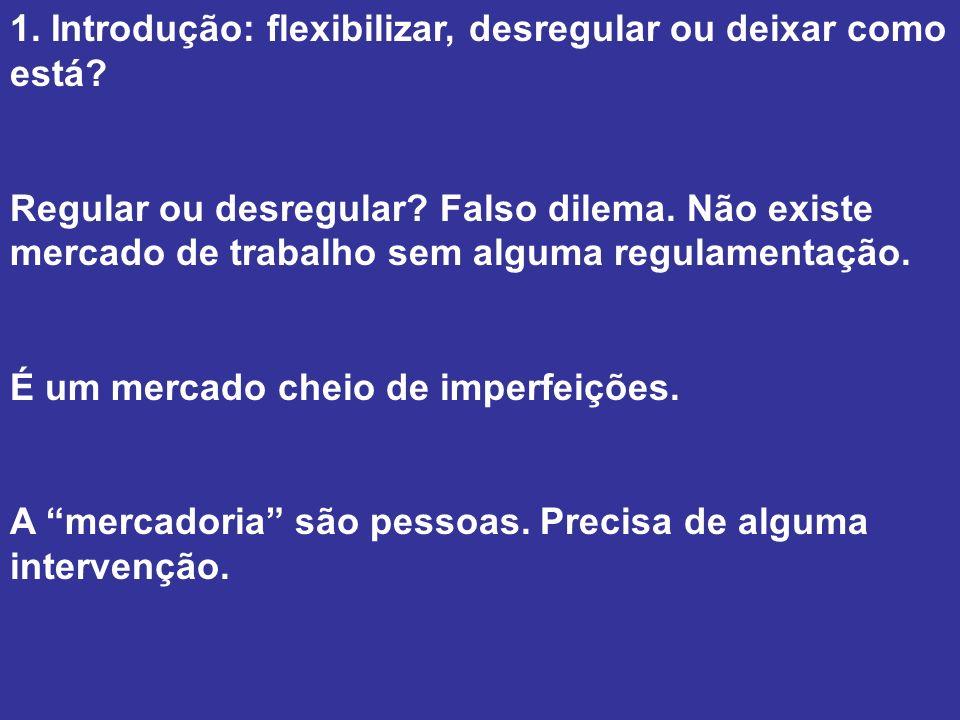 1. Introdução: flexibilizar, desregular ou deixar como está