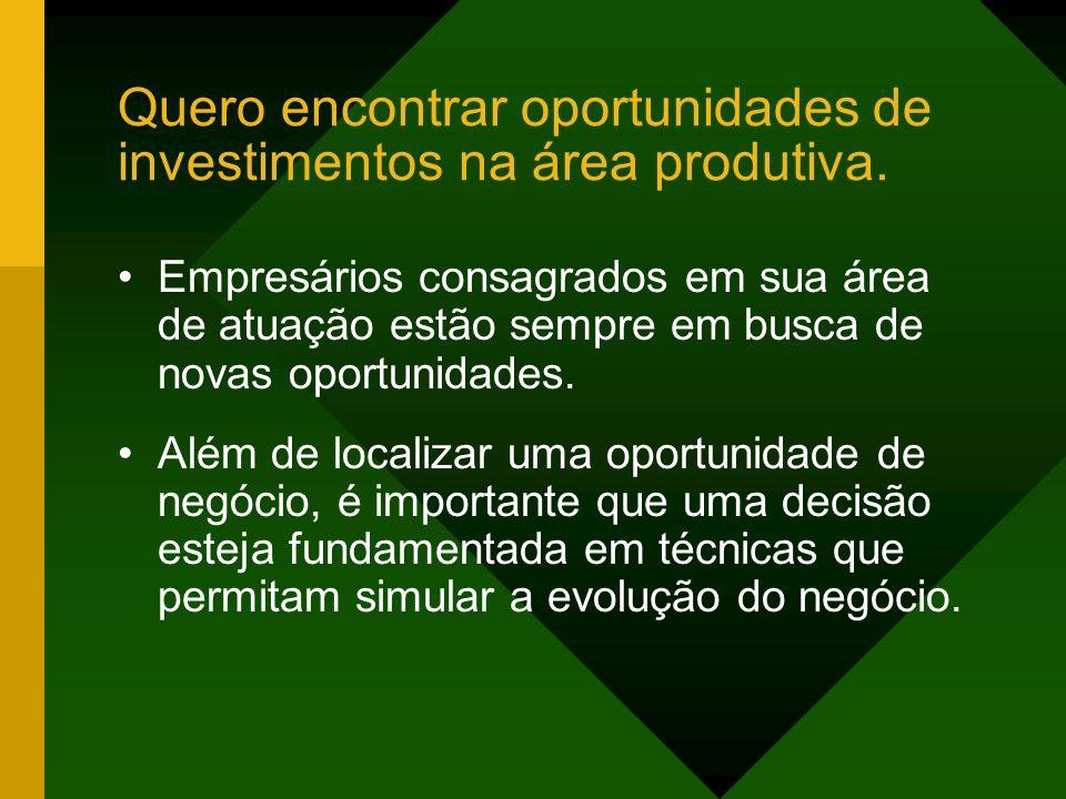 Quero encontrar oportunidades de investimentos na área produtiva.