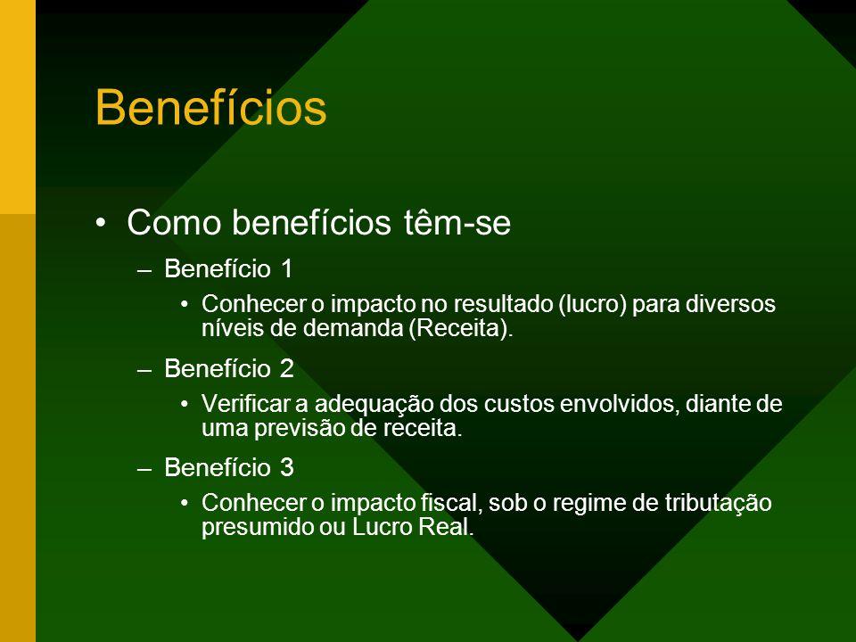 Benefícios Como benefícios têm-se Benefício 1 Benefício 2 Benefício 3