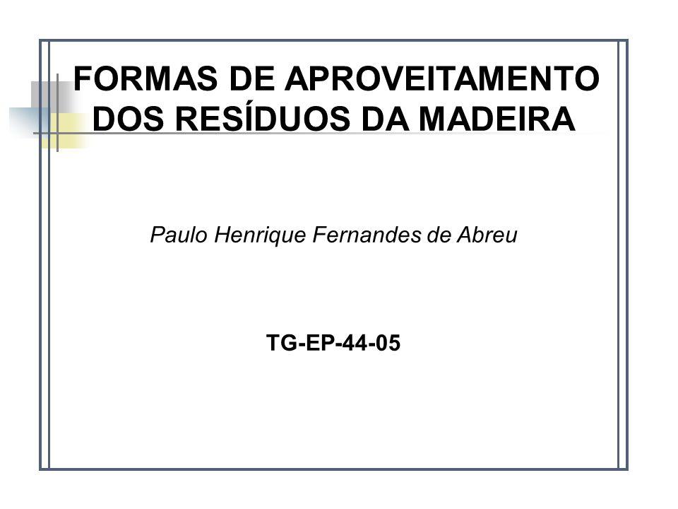 FORMAS DE APROVEITAMENTO DOS RESÍDUOS DA MADEIRA