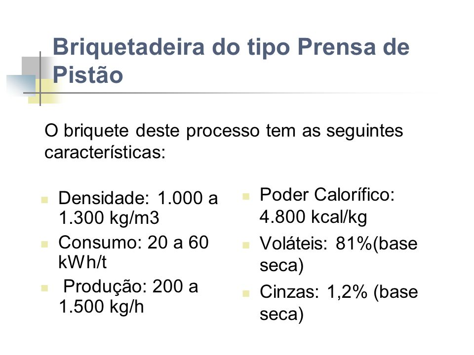 Briquetadeira do tipo Prensa de Pistão