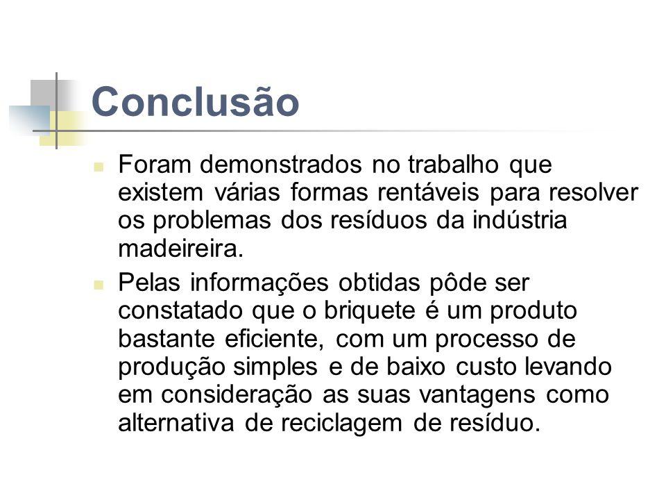 Conclusão Foram demonstrados no trabalho que existem várias formas rentáveis para resolver os problemas dos resíduos da indústria madeireira.