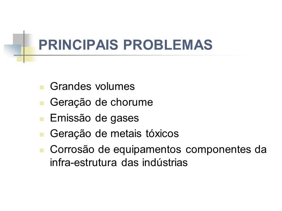 PRINCIPAIS PROBLEMAS Grandes volumes Geração de chorume