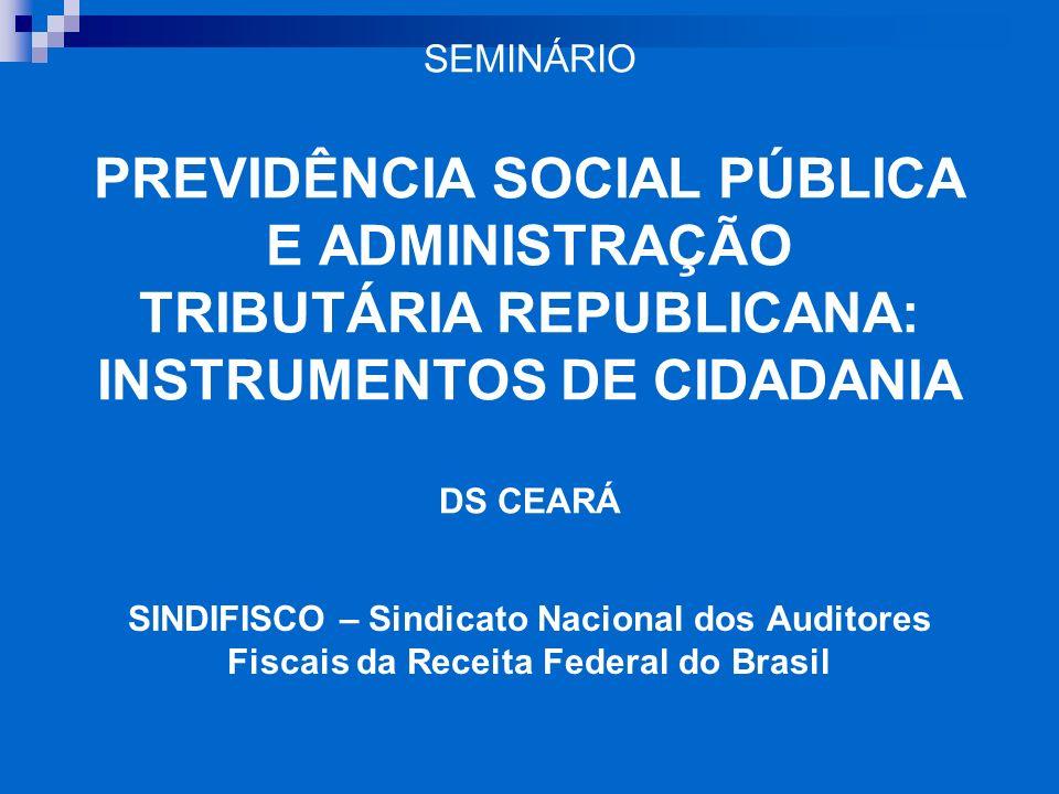 SEMINÁRIO PREVIDÊNCIA SOCIAL PÚBLICA E ADMINISTRAÇÃO TRIBUTÁRIA REPUBLICANA: INSTRUMENTOS DE CIDADANIA DS CEARÁ