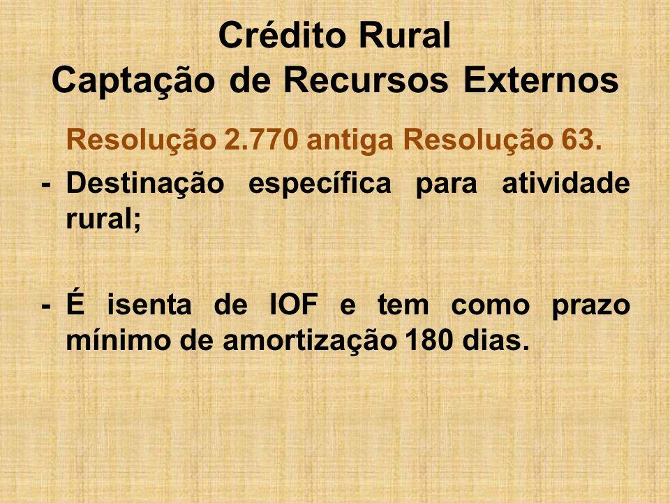 Crédito Rural Captação de Recursos Externos