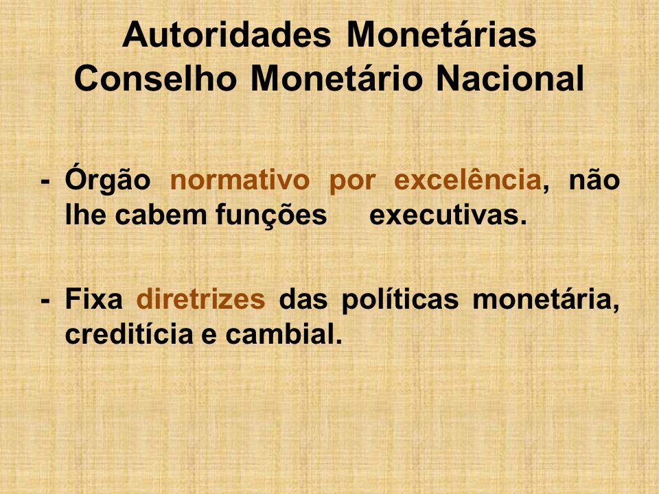 Autoridades Monetárias Conselho Monetário Nacional