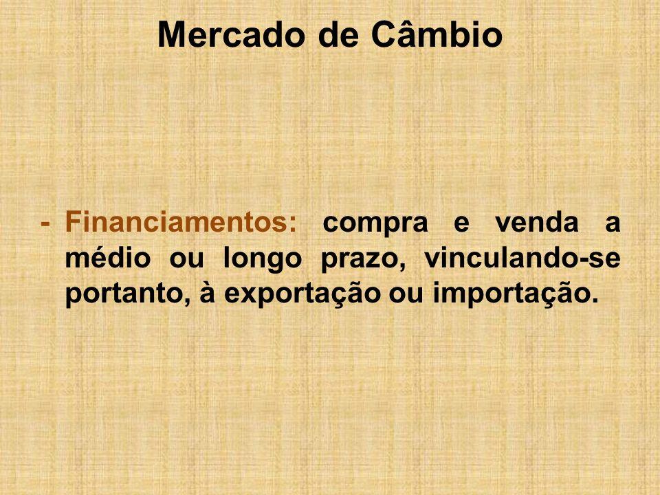 Mercado de Câmbio- Financiamentos: compra e venda a médio ou longo prazo, vinculando-se portanto, à exportação ou importação.