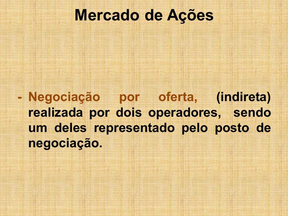 Mercado de Ações - Negociação por oferta, (indireta) realizada por dois operadores, sendo um deles representado pelo posto de negociação.
