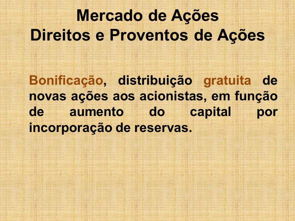 Mercado de Ações Direitos e Proventos de Ações