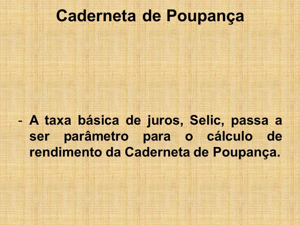 Caderneta de PoupançaA taxa básica de juros, Selic, passa a ser parâmetro para o cálculo de rendimento da Caderneta de Poupança.