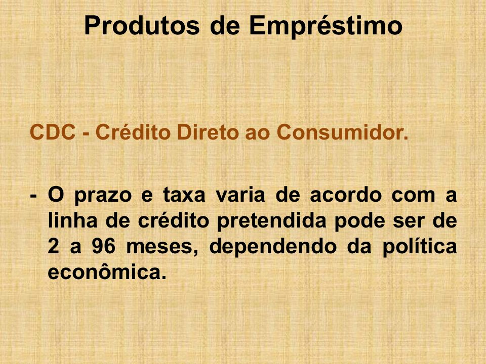 Produtos de Empréstimo