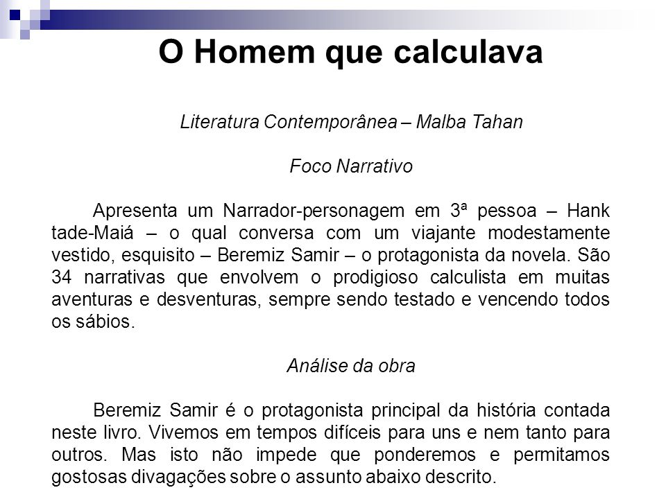 Literatura Contemporânea – Malba Tahan