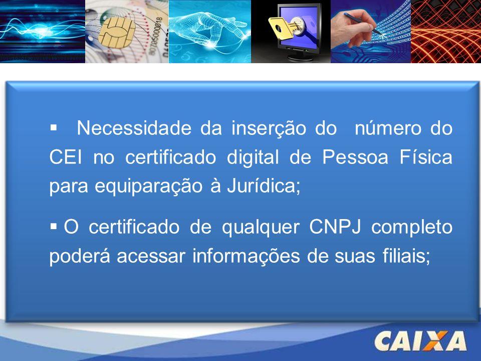 Necessidade da inserção do número do CEI no certificado digital de Pessoa Física para equiparação à Jurídica;