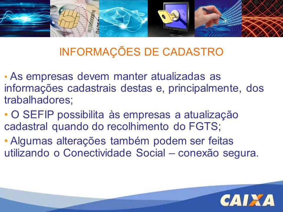 INFORMAÇÕES DE CADASTRO
