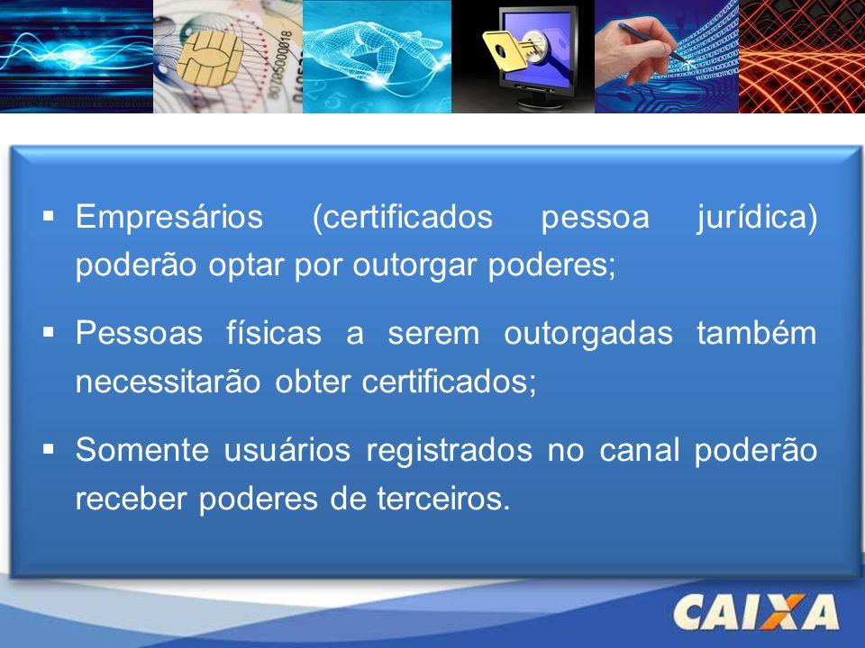 Empresários (certificados pessoa jurídica) poderão optar por outorgar poderes;
