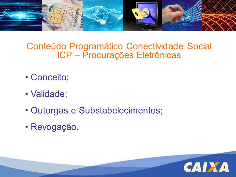 Conteúdo Programático Conectividade Social ICP – Procurações Eletrônicas