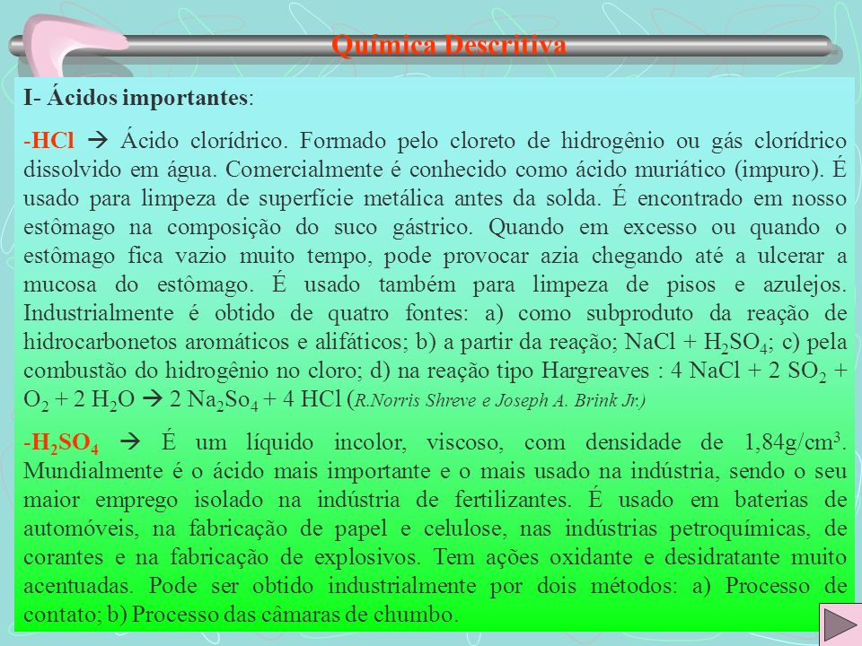 Química Descritiva I- Ácidos importantes: