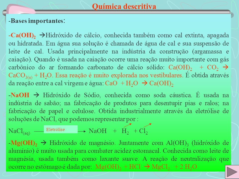 Química descritiva Bases importantes: