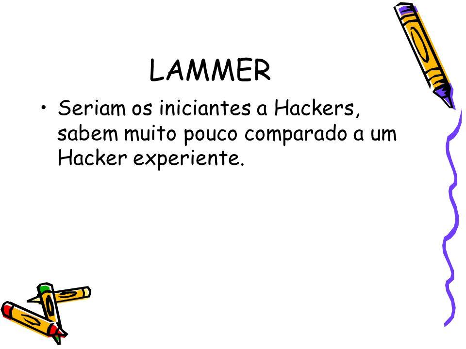 LAMMER Seriam os iniciantes a Hackers, sabem muito pouco comparado a um Hacker experiente.