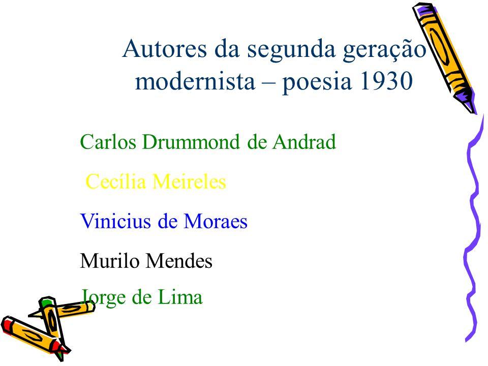 Autores da segunda geração modernista – poesia 1930