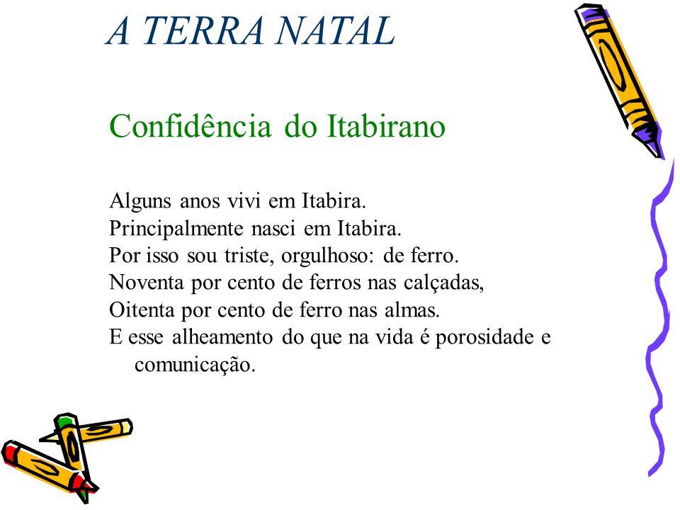 A TERRA NATAL Confidência do Itabirano Alguns anos vivi em Itabira.