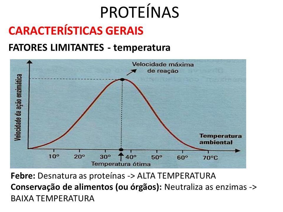 PROTEÍNAS CARACTERÍSTICAS GERAIS FATORES LIMITANTES - temperatura