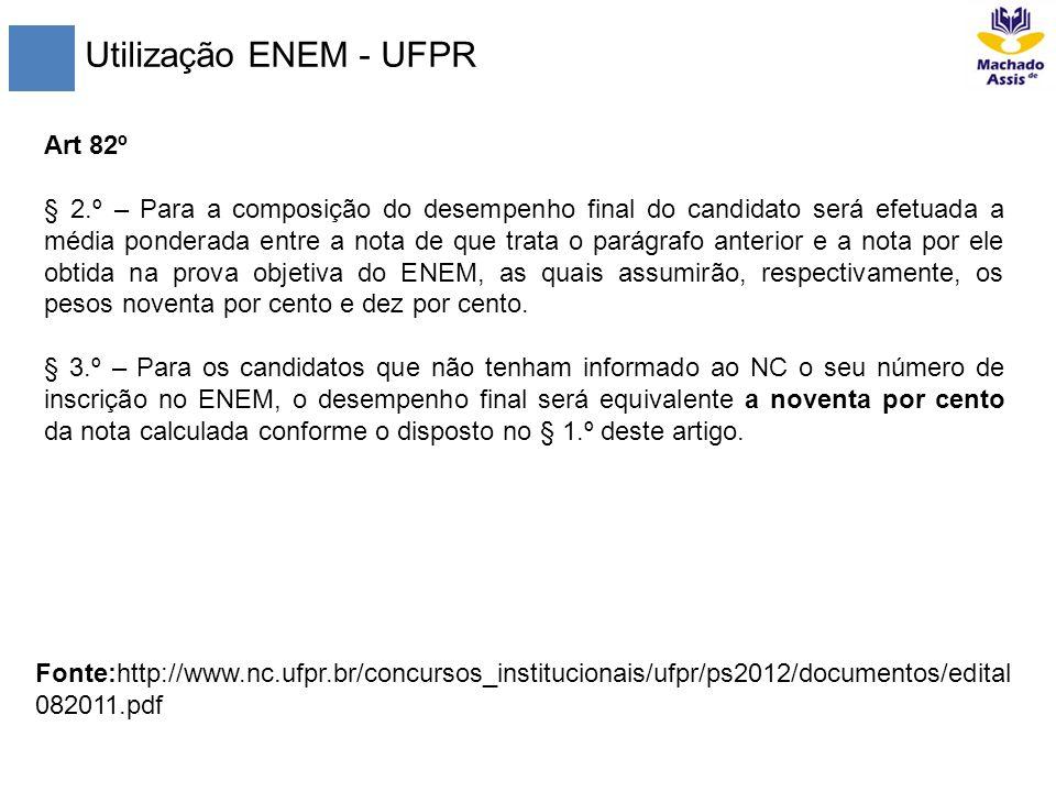 Utilização ENEM - UFPR Art 82º