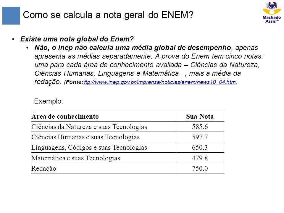 Como se calcula a nota geral do ENEM
