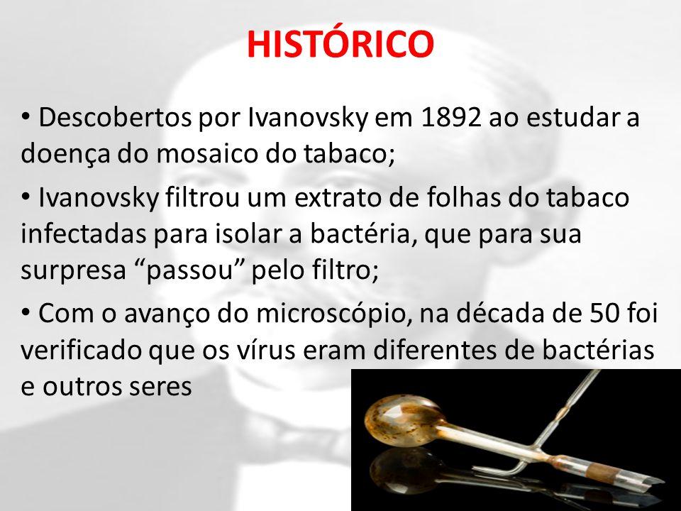 HISTÓRICO Descobertos por Ivanovsky em 1892 ao estudar a doença do mosaico do tabaco;