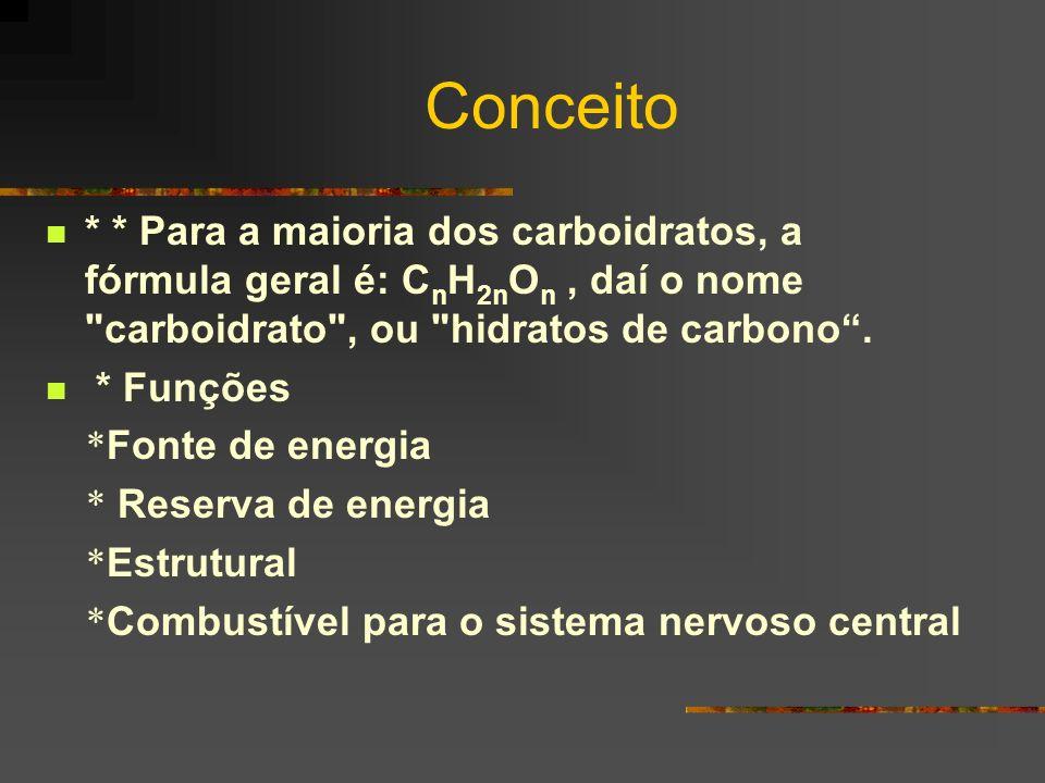 Conceito * * Para a maioria dos carboidratos, a fórmula geral é: CnH2nOn , daí o nome carboidrato , ou hidratos de carbono .