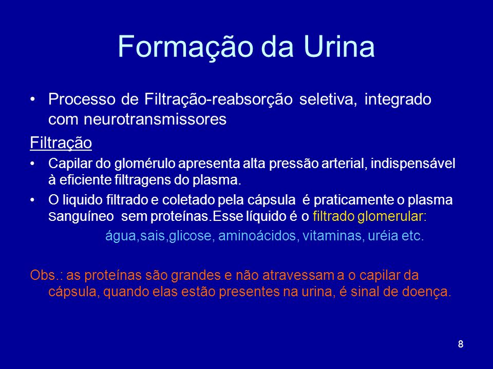 Formação da Urina Processo de Filtração-reabsorção seletiva, integrado com neurotransmissores. Filtração.