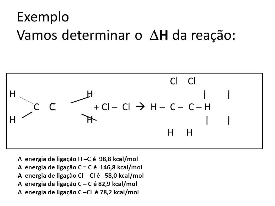 Exemplo Vamos determinar o H da reação: